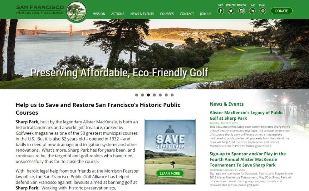 The New San Francisco Public Golf Alliance Website at SFPublicGolf.org
