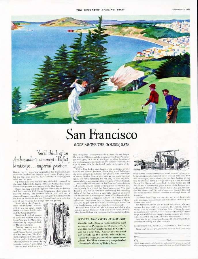 Saturday Evening Post Advertisement for SF Golf December 1933