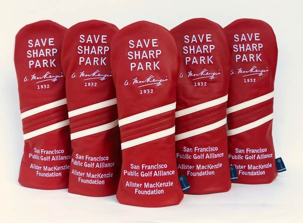 Save Sharp Park Red Leather Head Cover